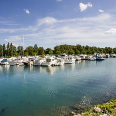 Port fluvial de l'Epervière, à Valence, sur le Rhône, la véloroute voie verte Viarhôna