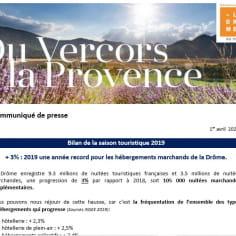 visuel du CP bilan touristique de la Drôme 2019
