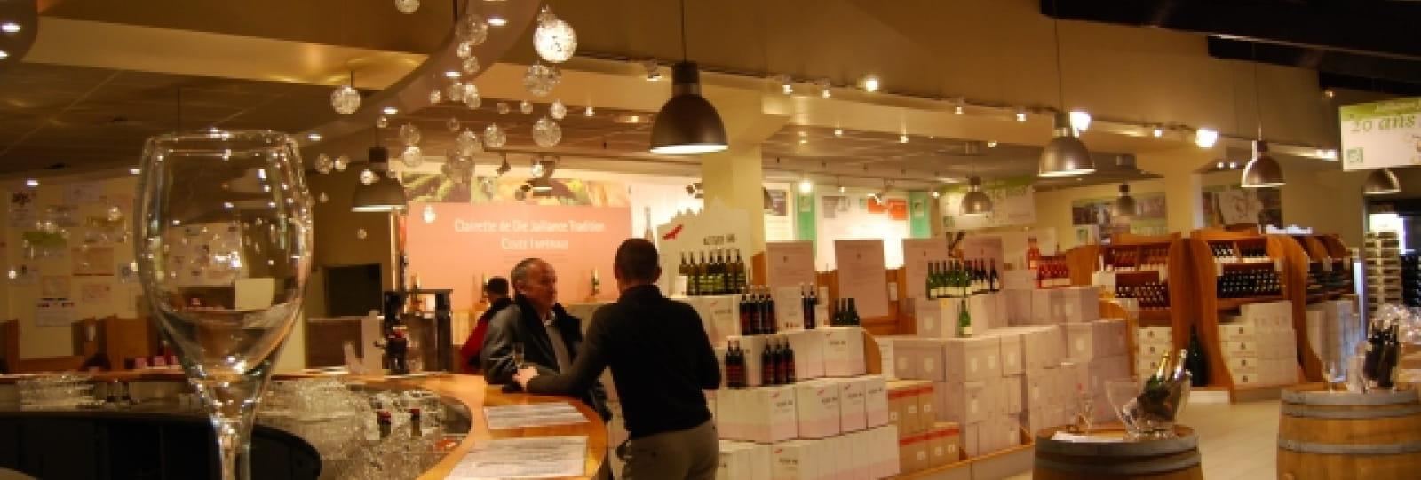 Boutique de produits locaux à la Cave de Die Jaillance