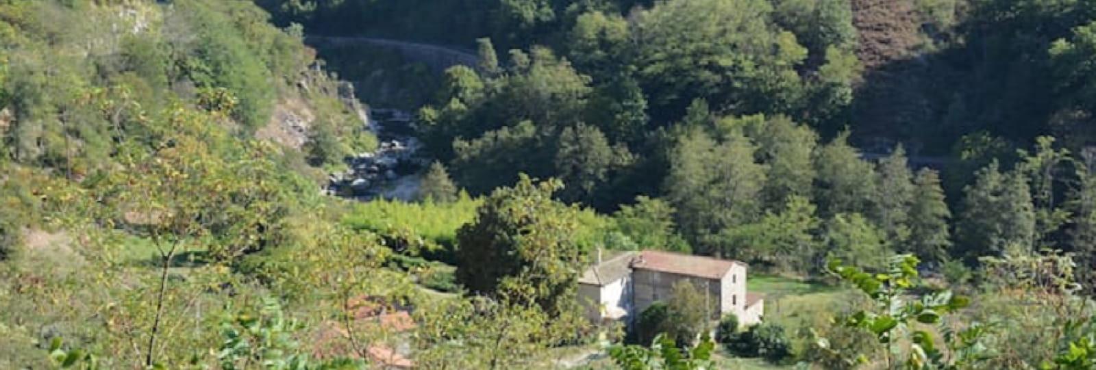 Vue d'ensemble du gîte. Au second plan, la rivière 'le Doux' avec au dessus la voie ferrée du Train de l'Ardèche ainsi que le Vélo-rail.