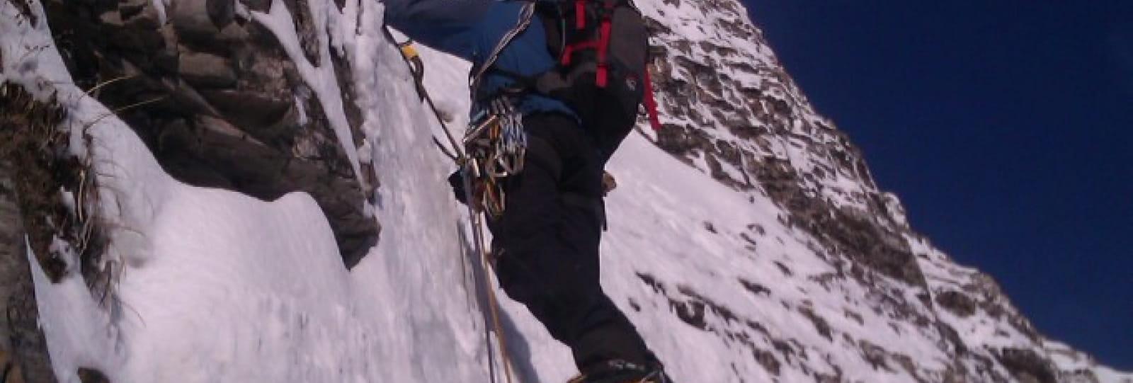 Cascade de glace avec En Montagne