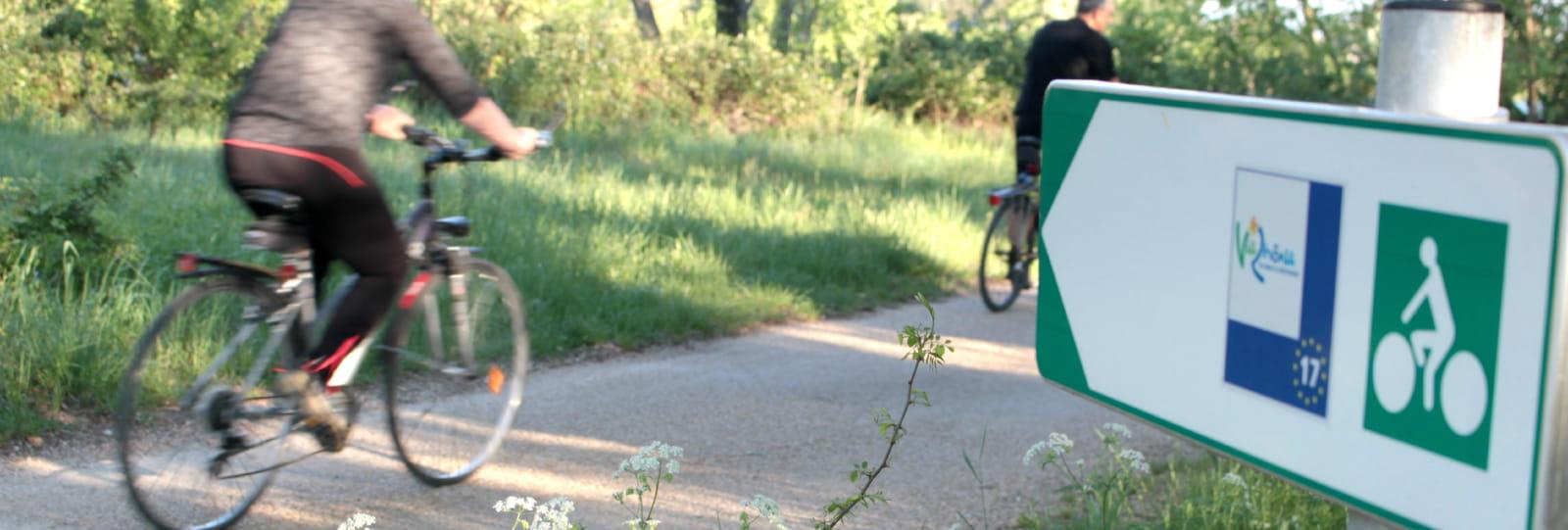 Personnes circulant en vélo sur la Viarhona
