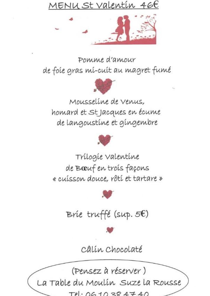 Repas Saint Valentin A La Table Du Moulin La Drome Tourisme