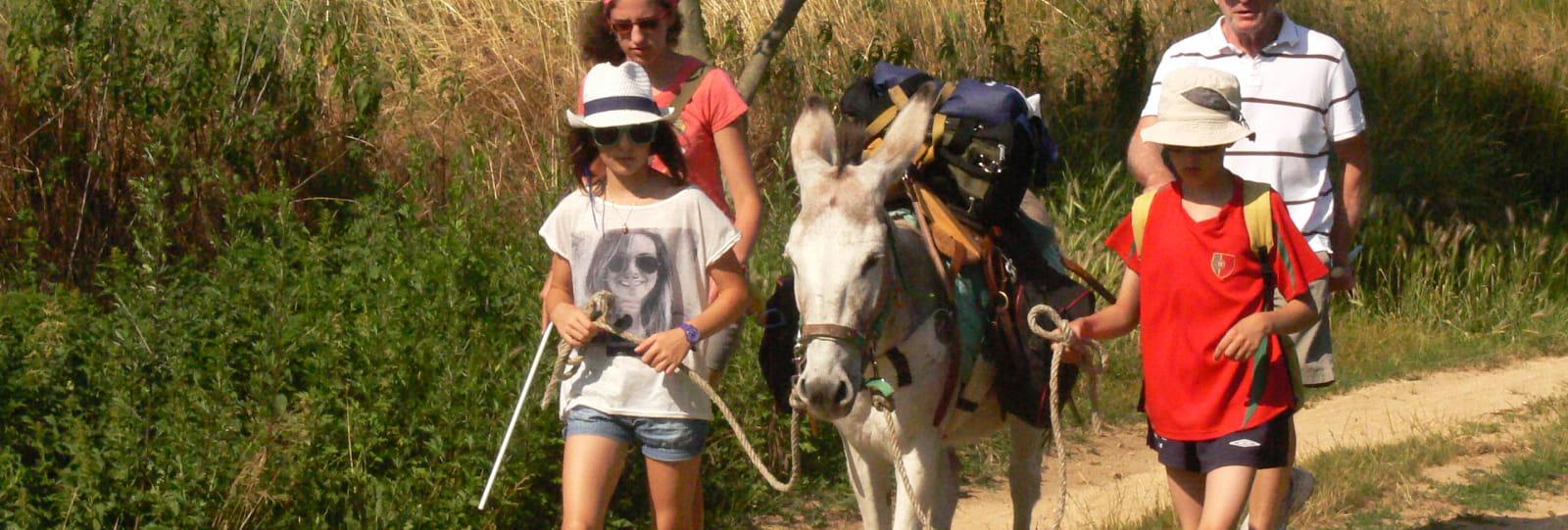 Une famille baladant avec un âne