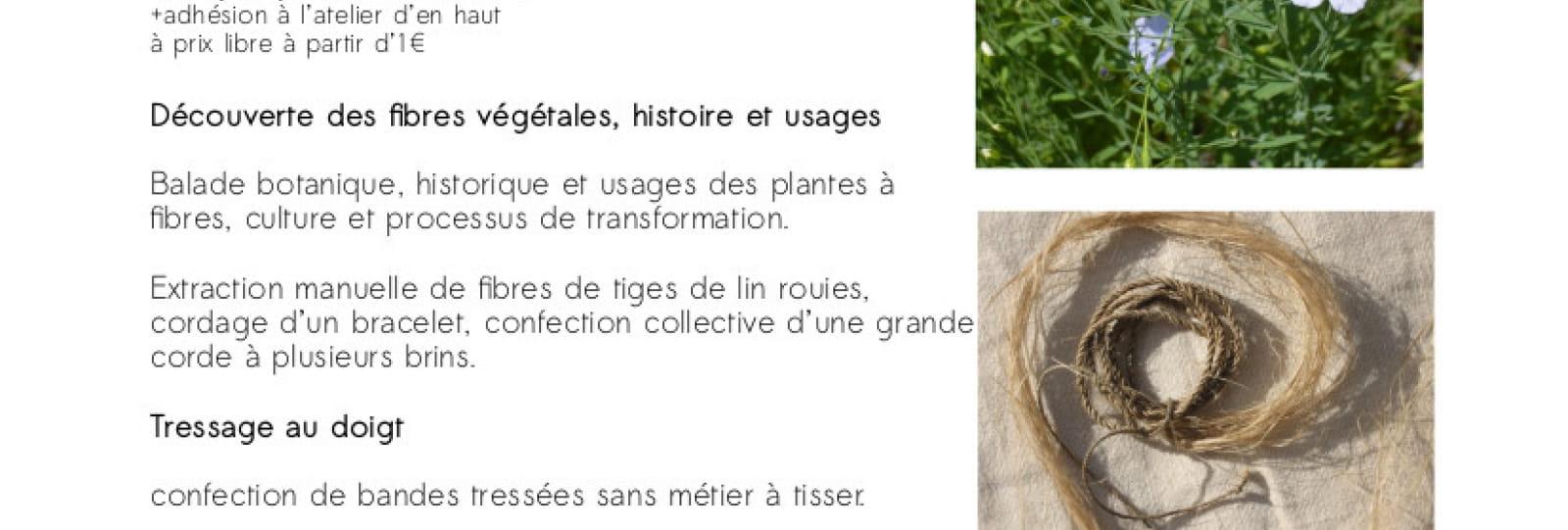 Stage fibres végétales, corderie et tressage au doigt avec 'Faire Fil de Tous Poils'