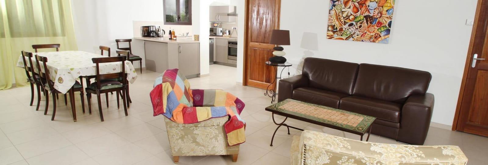 La pièce à vivre : salon, salle à manger, et cuisine.